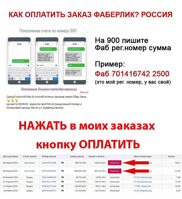 Как оплатить заказ Фаберлик? (Россия)