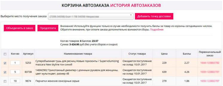 Корзина автозаказа продукции FABERLIC - история автозаказов